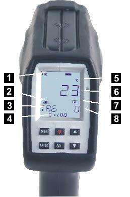 Pyromètre portable 8-14 / 0,9 / 1,6 µm, écran LCD rétroéclairé